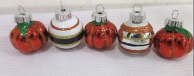 Halloween Decorations Ornaments (Halloween Thanksgiving MINI (5) Mini Glass Pumpkin Ball Ornaments Decorations)