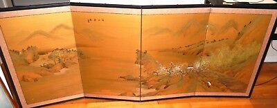 LARGE CHINESE VILLAGE CROP FIELD ORIGINAL WATERCOLOR 4 PANEL SCREEN PAINTING