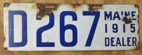 1915 MAINE DEALER PORCELAIN license plate  1915   D 267