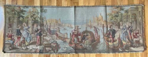 Antique Vintage Wall Hanger Jacquard Tapestry -ItalianVenice, Gondolas- Belgium