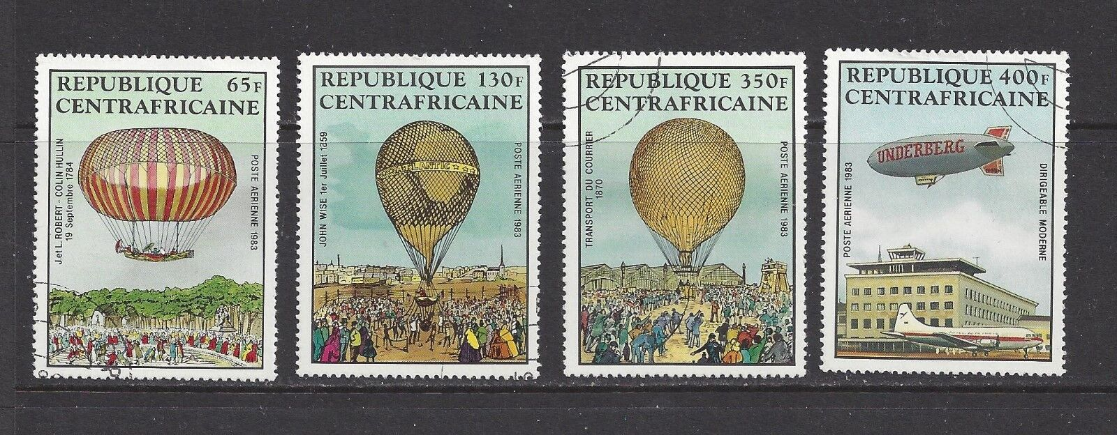 CENTRAL AFRICA - C282 - C285 - USED - 1983 - MANNED FLIGHT BICENTENARY