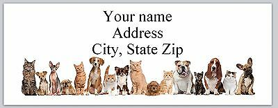 Personalizes Address Labels Row Of Cute Dogs  Cats Buy 3 Get 1 Free Ac 948