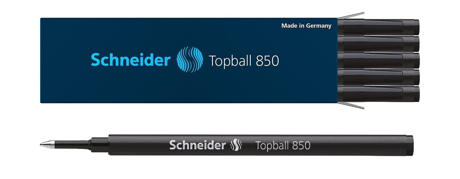 10 – Schneider Topball 850 Rollerball Pen Refills, .5mm, Black Ink, German Made Collectibles