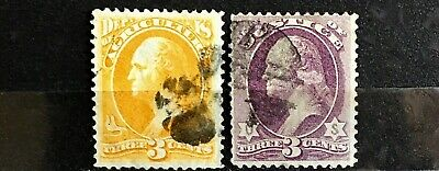U.S. Stamps Two Officials. SC #O3 & SC #O27 Agriculture & Justice. Used. A14.
