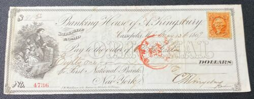 Bank Check,  1869 obsolete note from Banking House of A. Kingsbury #2 (NICE) ***