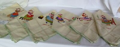 Vintage 10 Spanish Days of the Week Embroidered Dish Kitchen Tea Towels