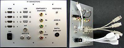 AV TV Metal Wall Plate HDMI/USB/Cat6/Composite/Jack/RF/Optical Audio tail-leads Jack Wall Plate