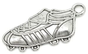 10 x Football Soccer Metal Charms 23mm x 11mm B15554