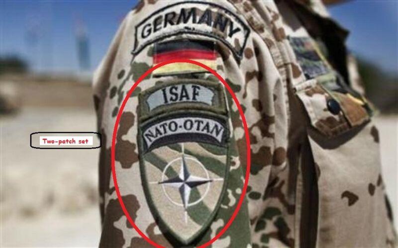 AFGHANISTAN GERMAN Bundeswehr SP OPS velkrö-hook 2-INSIGNIA: NATO with ISAF Tab