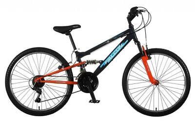 "Falcon Neutron 24"" Boys Junior Mountain Bike Full Suspension 18 Speed MTB Cycle"