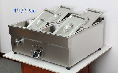 New 4-pan Lp Gas Food Warmer Food Heating For Half Size 10.5 X 13 X4pan