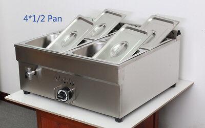 "NEW ! 4-pan LP Gas Bread Warmer Food Heating For Half Size 10.5"" x 13"" x4""Pan"