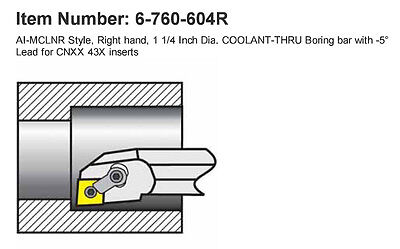 "1-1/4""RH Coolant-Thru Boring Bar for CN__43_,1.53""Min Bore 14""OAL AI-MCLNR 20-4T"