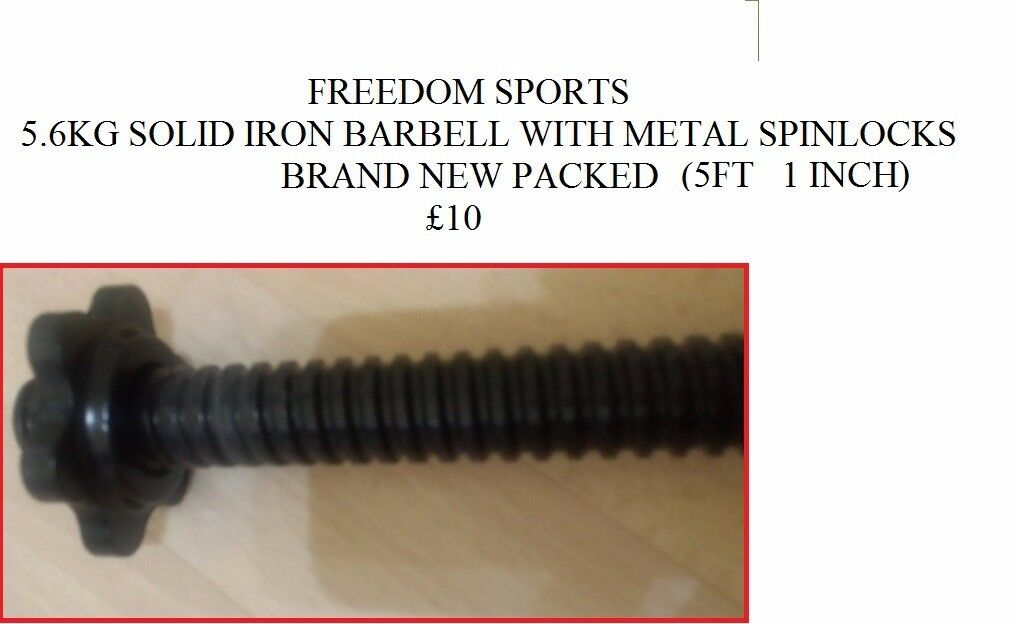 5.6KG SOLID IRON BARBELL 5FT 1 INCH BRAND NEW PACKED