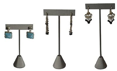GREY LEATHERETTE EARRING DISPLAY T BAR STAND DISPLAY SHOWCASE JEWELRY (Leatherette Stand)