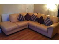 Clotted cream Full leather corner sofa. Delivery available