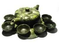 Chinese carved spinach jade tea set.