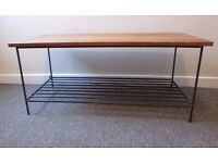 Coffee table media tv table two tier unusual and rare wooden and metal table