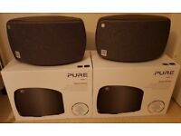 Two Pure Jongo T4X wireless multiroom speakers (graphite), boxed with all accessories, as new.