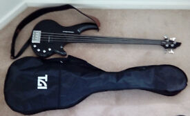 Hudson Project Bass 4-String Black Fretless (PB4-FL) with Strap and Case
