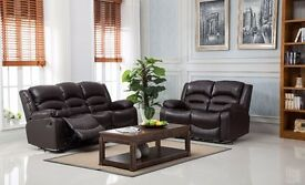 Wiltshire Bonded Leather Recliner Sofa Suite 3 + 2 in Brown