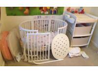 White Stokke Sleepy Mini & Stokke Sleepy Bed & Stokke Care Changing Table Set