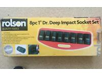 Socket set 8 piece 1' drive deep socket set.