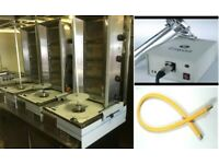KEBAB SHOP ARCHWAY DONER MACHINE PACKAGE DEAL-EASY CUT AND YELLOW GAS PIPE 1.20CM TWIST&TURN