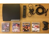 PS3 120GB Very Good Condition - Includes HDMI cable, Bluetooth Remote, and 4 Games