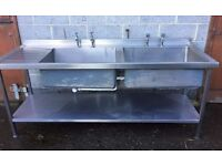 Double Catering Sink With Taps,210 cm wide,70 cm Front To Back,Shelf Underneath ,Buyer To Collect