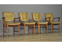 Attractive Set of Four 4 Retro 70's McIntosh Teak Dining Kitchen Chairs