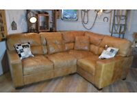 Vintage Distressed Leather Corner Sofa Tan