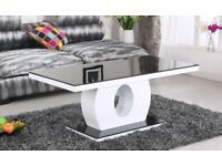 New, Edenhall Black Glass Coffee Table Black and White Hight Gloss