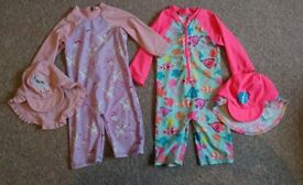 Bundle UV protection girls swim suits and hats 18-24m