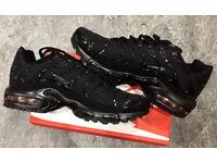 Brand New Nike Air Max PLUS TN TRIPPLE BLACK/ALL BLACKsize uk 6 TO 11.
