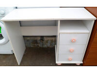 USED STURDY CONDITION, A NICE WHITE EFFECT & PINK GIRLS DESK/DRESSING TABLE