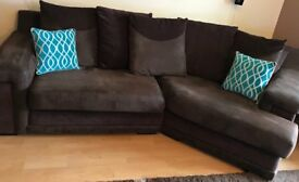 fabric 3 peice suite corner sofa sofa bed swivel chair and large foot stool £350 ono