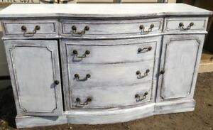 ANTIQUE CREDENZA White 60w x 20dp x 36 tall Oakville Shabby Chic Restored Antique Brass Knobs Buffet Cabinet Heavy