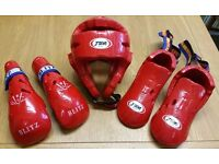 T sport Dipped foam red foot Guard Small , Blitz PU Elite Gloves small, T sport helmet small.