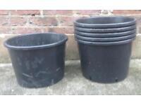 6 Large Black Plastic Pots