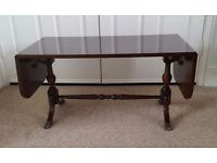 Dark Wood Extendable Coffee/Sofa Table with Brass Feet