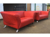 3+2 Lind dark red leather sofas DELIVERY AVAILALBE