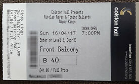 1 X Gipsy Kings Ticket for Sunday 16 April - Bristol - Colston Hall - Front Balcony