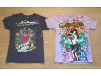 Two barely worn vintage Ed Hardy men's T-shirts. Grey and Light Purple. Medium