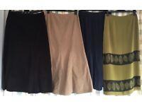 Bundle of 4 ladies long skirts size 12-14 various makes M&S, Vero moda, Cherokee