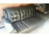 Free 3 Seater Green Leather Sofa