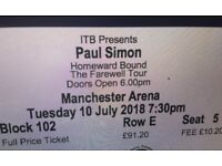 Paul Simon's Farewell Tour 2 tickets Manchester 10th July 7.30pm