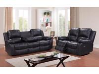 Brand new DESIGNER 3+2 SOFA SUITE IN LEATHER - CUPHOLDER AND STORAGE BLACK