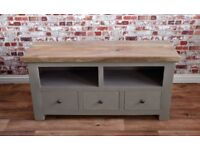 Rustic Hardwood TV Entertainment Cabinet Unit with Three Drawers - Free delivery