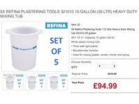 5X REFINA PLASTERING TOOLS 321010 10 GALLON (35 LTR) HEAVY DUTY MIXING TUB